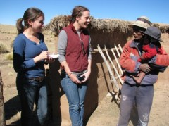 Ana and Christie getting to know Bolivian farmers