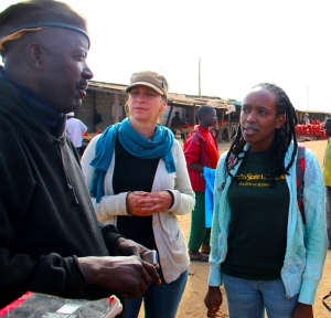 Interviewing Zambian farmers in a Lusaka market. Photo credit: Andy Kumar