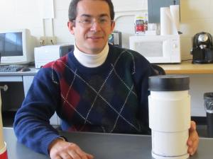 Dr. Julio Zimbron and an E-Flux CO2 canister