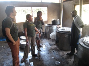 Team Akiba visiting a school kitchen in Kenya