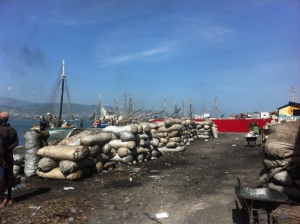 Charcoal at a port in Haiti
