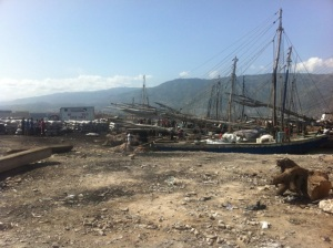 Boats used as an alternative to land transportation in Haiti