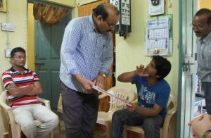 Tanmay, of Team Janani, meeting with doctors in India