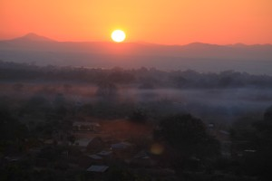 Sunrise over the Zambian Village of Mwavi
