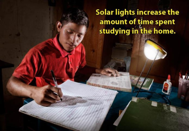 Solar lights increase the amount of time spent studying in the home.