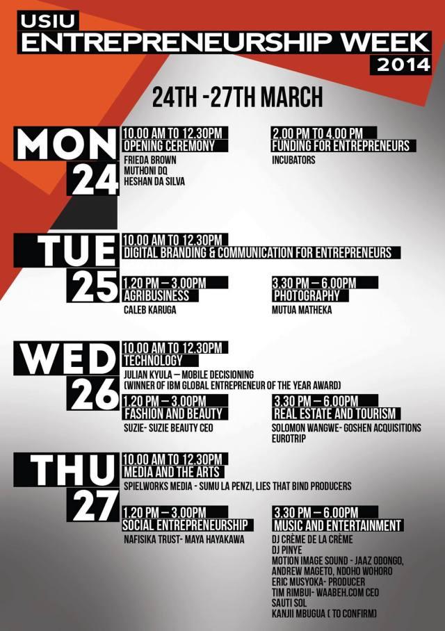 Entrepreneurship Week 2014 poster