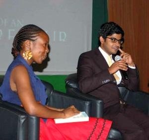 Heshan de Silva and another panelist at USIU's Entrepreneurship Week 2014
