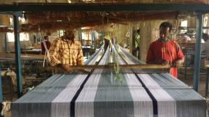 Ethiopian artisans weaving textiles