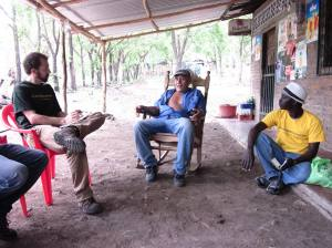 Growing Capital team meeting with a Nicaraguan smallholder farmer