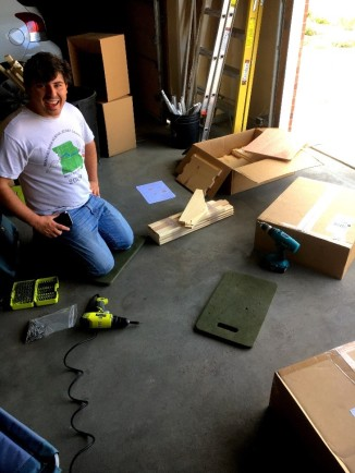 Sam was thrilled to begin building the bee boxes in Montana's garage.