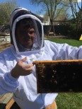 Sam holding an older bee frame.