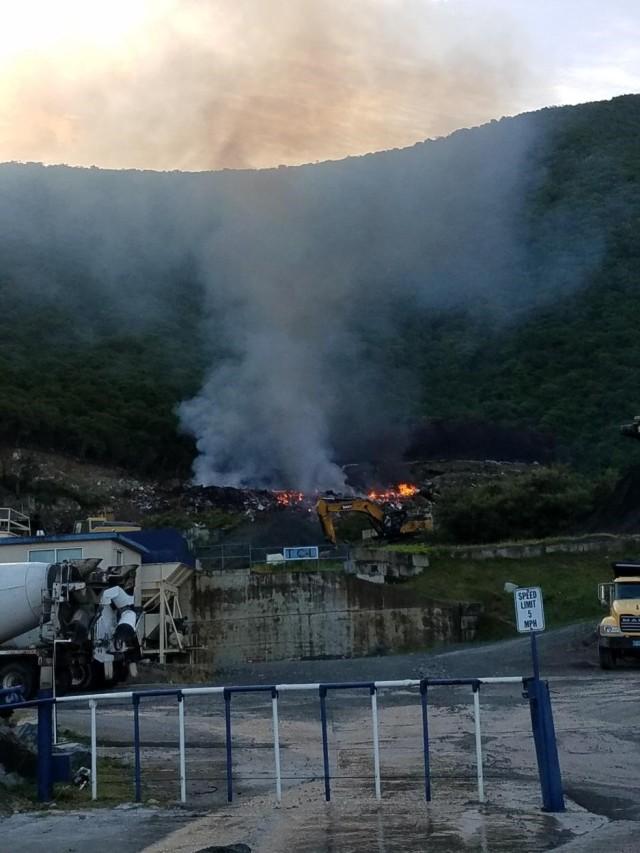 Landfill erupting in flames: Tortola, BVI