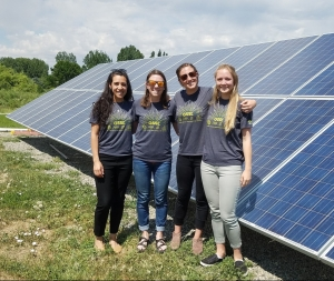 Luciana, Melody, Aurora, and Addie are the four MBA students on the Community Solar Concepts team. This photo was taken on Solar Energy International's Teaching Yard in Paonia, CO.